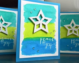 Watercolor Christmas Cards Set of 3, Peace Cards Set, Snowflake Cards, Peace and Joy, Holiday Cards set