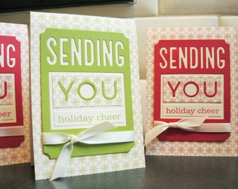 Handmade Holiday Cards Set of 3, Christmas Cards Set, Christmas in July Cards Set