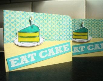 Funny Birthday Card Set of 2, Handmade Birthday Cards, Happy Birthday, Eat Cake