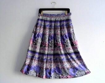 Vintage 80/90's High waisted Floral Print  Skirt