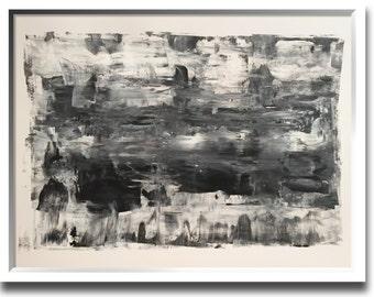 Original modern minimal art 24x18 inches titled DARK COVE