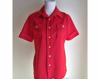 70's Red Polyester Collared Button Up