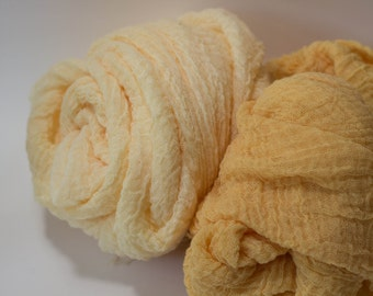 Premium Cheesecloth Wrap Pair Layers for Newborn Photo Prop Two Wraps Apricot Light Apricot New Baby Boy Girl Wrap Basket Stuffer Filler