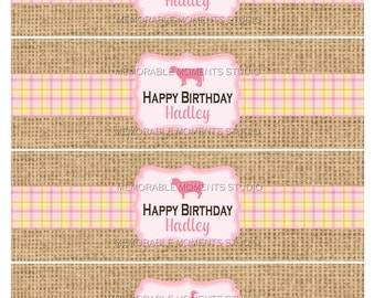PRINTABLE WATER BOTTLE labels Petting Zoo or Farm Birthday Party Collection - Burlap and Pink Vintage Farm - Memorable Moments Studio