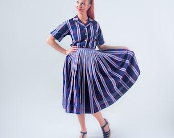 1950's Plaid Day Dress Set/ Matching Set 50's Full Skirt Shirtwaist Blouse