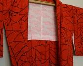 Vintage haori, kimono jacket. Fiery orange