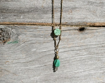 Small Franken-necklace with turquoise Rose.