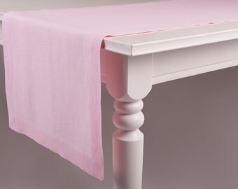 Pink linen table runner, Light pink linen table runner