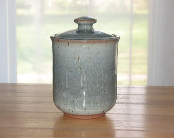 Pottery lidded jar with slate blue glaze