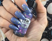 My God- It's Full of Stars! Catventures in Space blue purple stars glow in the dark glitter vegan nail polish