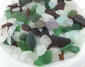 Beach GLASS LOT  .  brown green white beach glass.  colored glass pebbles. mosaic sea glass.. No.001128a