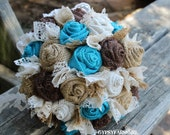Custom order for hardesty8377 - turquoise burlap and lace wedding bouquets
