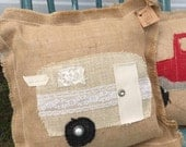 Burlap and Lace glamper pillow / shabby chic vintage camper pillow / decorative pillow / happy camper N16