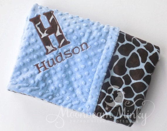 Monogrammed Minky Baby Blanket - Blue and Brown Giraffe - Boy - Personalized  Soft Blanket with Name, Birth Stats