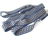 Vintage Men's Navy Suspenders with Gold Check Pattern