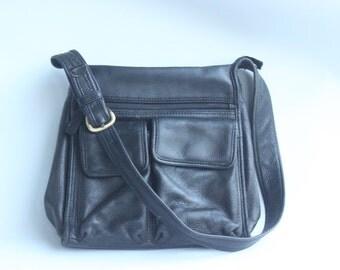 Vintage Fossil Black Leather Shoulder Handbag