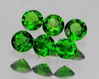 Bright Green Chrome Diopside Faceted Rounds, Calibrated, 4 MM , Price Per Each, Natural Gemstones