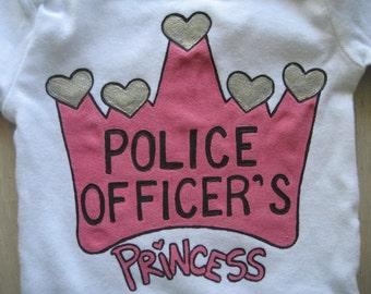 Police Officer's Princess Onesie, Daddy's Girl, Daddy's Princess,Princess Onesie, Baby Girl Shower Gift,Long Or Short Sleeve Bodysuit