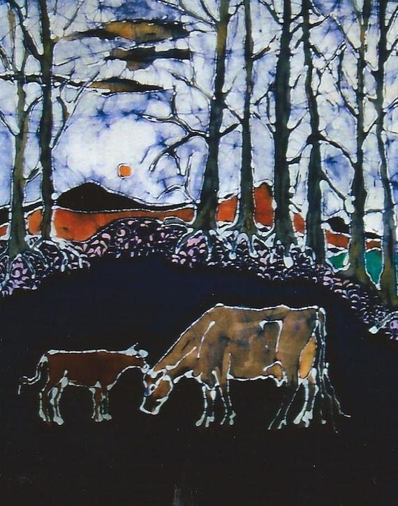 Jersey Cow and Calf Below Hills- print from original batik