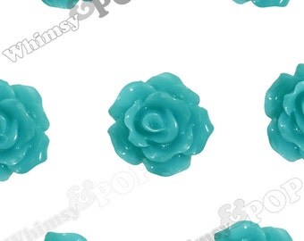 10mm - Teal Green Small Detailed Flower Rose Cabochons, Rose Shaped, 10mm Rose Cabochons, 10mm x 4mm (R1-084)