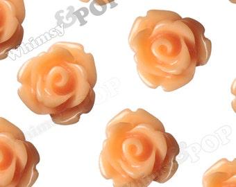 Sorbet Orange Rose Cabochons, Flower Cabochons, 10mm Rose Cabochons, Flat Back Roses, 10mm x 6mm (R1-067)