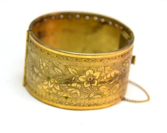 Miriam Haskell Gilt Brass Wide Floral Etched Hinged Bangle Bracelet