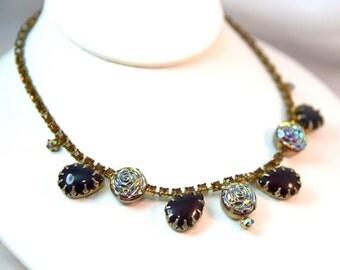 Antique Molded Aurora Borealis Molded Rose Carnival Art Glass, Orange Citrine & AB Rhinestones Prong Set Chevron Necklace