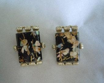 Vintage 50s Black Lucite Confetti Clip Earrings