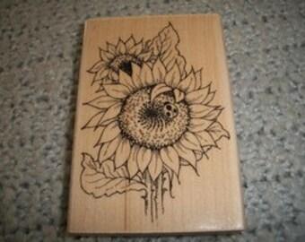 Sunflower Ladybug Rubber Stamp