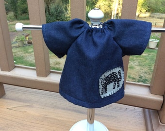 "Waldorf doll clothes, tunic/top for 14-16"" denim black kitty cat"