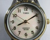 Vintage Gold & Silvertone Timex Indiglo Watch Mother of Pearl Face Stretch Band