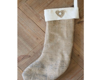 Handmade Christmas Stocking Burlap Hessian Love Heart