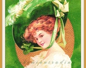 "Antique St Patricks Day Postcard.  Ellen Clapsaddle Woman in Hat ""The Wearing of the Green"" Intl Art Publishing Co Germany Embossed 1910's"