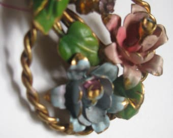 AUSTRIA enameled flowers pin with rhinestones - FANTASTIC