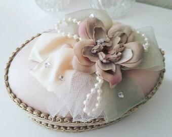 VINTAGE Wedding Box, Shabby CHIC Fabric Box, Victorian Keepsake Box, Jewelry Box, Blush Pink Box