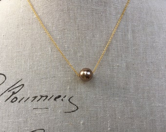 Floating pearl necklace in bronze color Pearl perfect for your bridesmaid gift