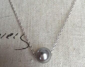 Gray Swarovski floating Pearl necklace , bridesmaid jewelry