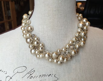 Champagne Pearl cluster necklace on silver chain