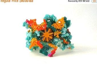 Christmas in July ON SALE Boho bracelet, Colorful Beaded bracelet, Creative jewelry, Artistic jewelry, Freeform peyote