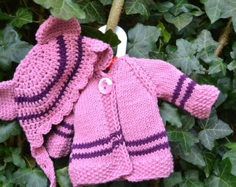 "Gorgeous cardigan and hat for Waldorf doll 16"" - 17"""