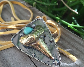 Fossil Shark Tooth Necklace. Sterling silver and brass planchette necklace pendant.