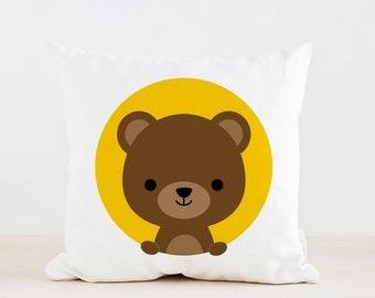 Animal Bear Nursery Pillow, Kids Pillow Cushion, Home decor