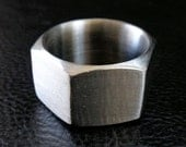 Hex nut ring, US size 14 stainless steel unisex geometric industrial modern chunky band ring