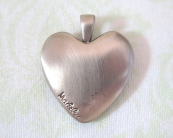 Madelyn Brushed Steel Heart Pendant