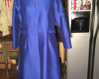 Isaacson's Atlanta women 16 royal blue 60s A-line dress--flared skirt