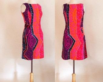 THE LOVE SALE 60s Sheath Dress / 60s Op Art Dress / Mod 60s Dress / Psychedelic 60s Dress / 60s Summer Dress