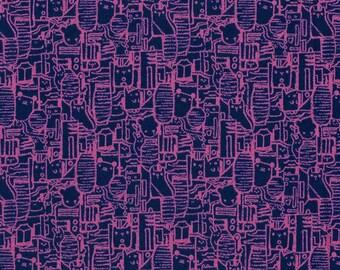 Tokyo Train Ride LAWN Shibuya in Violet, Sarah Watts, Cotton+Steel, RJR Fabrics, Cotton Lawn Fabric, 2013-21
