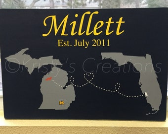 Personalized Wood Sign - Two States Sign - Long distance Love Sign - Two Countries - Hand Painted Sign