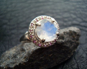 Ruby Moon - Genuine Rainbow Moonstone & Ruby Halo Ring - 925 Sterling Silver - Unique Womens Ring - Round Cut Alternative Engagement Ring