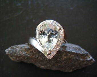 Ice Queen - Genuine Aquamarine & Sapphire Ring - Alternative Engagement Ring - Solid 925 Sterling Silver - Unique Engagement Ring - Pear Cut